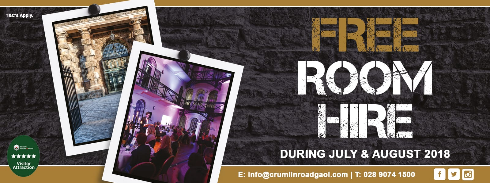 Free Room Hire at Crumlin Road Gaol for conference and events during July and August 2018